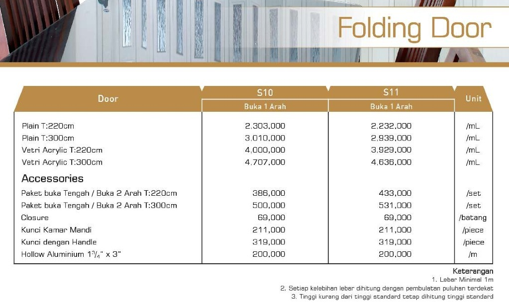harga folding door